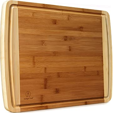 """Indigo True Extra Large Bamboo Cutting Boards for Kitchen with Deep Juice Groove - 17.5"""" x 13.5"""" x 0.75"""""""