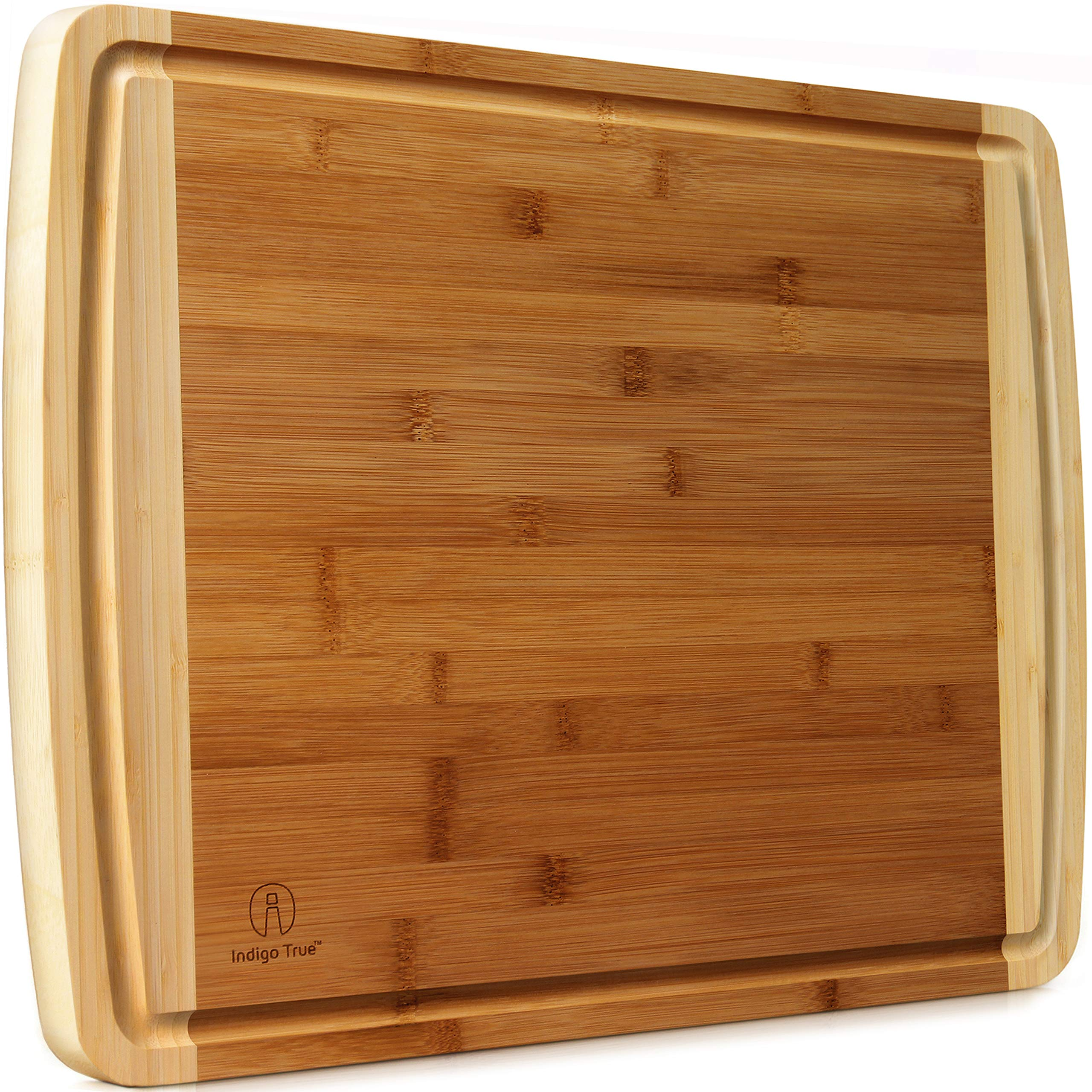 Extra Large Bamboo Cutting Board for Kitchen with Juice Groove - 17.5 x 13.5 x 0.75 inch by Indigo True
