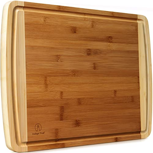 "Indigo True Extra Large Bamboo Cutting Boards for Kitchen with Deep Juice Groove - 17.5"" x 13.5"" x 0.75"""
