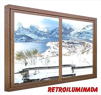 Fausse Fenêtre Tableau Lumineux Paysage Enneigé Moderne