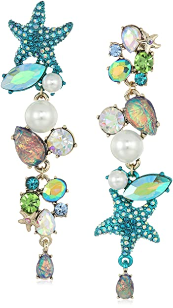 5325e454a Amazon.com: Betsey Johnson Women's Crabby Couture Seashell and Stone  Mismatch Drop Earrings, Blue, One Size: Jewelry