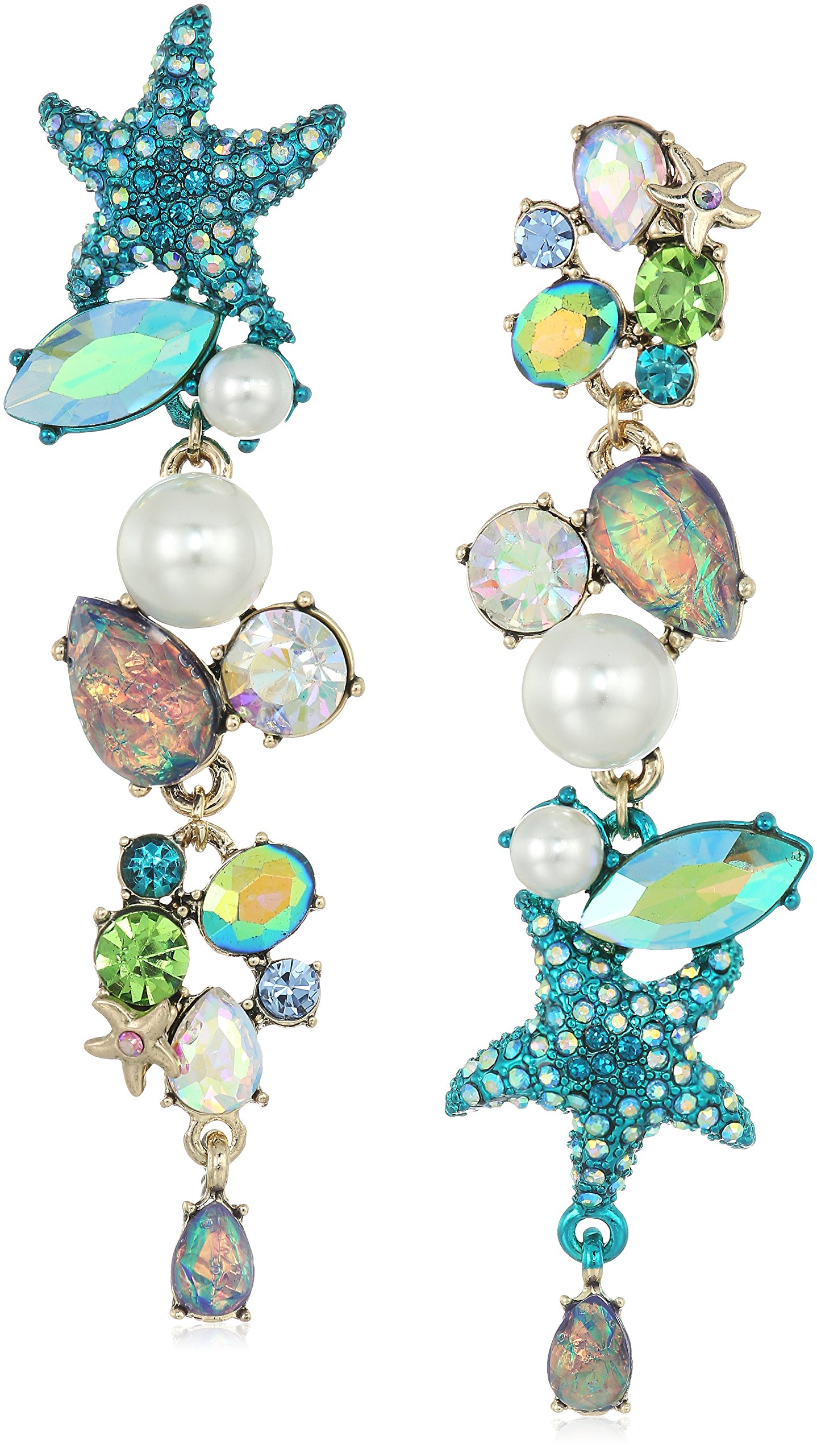 Betsey Johnson Women's Crabby Couture Seashell and Stone Mismatch Drop Earrings, Blue, One Size