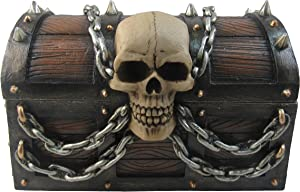 "DWK 5"" Wide Pirate's Booty Treasure Chest Trinket Storage Jewelry Box With Skull And Chains by Beach Nautical Caribbean Themed Home Decor and Gifts"