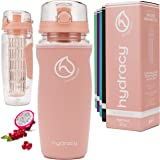 Hydracy Fruit Infuser Water Bottle - 32 oz Sports Bottle - Insulating Sleeve, Time Marker & Full Length Infusion Rod + 27 Fru