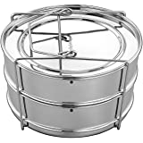 EasyShopForEveryone Stackable Stainless Steel Steamer Insert Pans - Vent Holes to Equalize Steam - Cook Vegetables, Meat, Fish, Rice and more -  Fits 5, 6, 8 Quart Instant Pot Pressure Cooker
