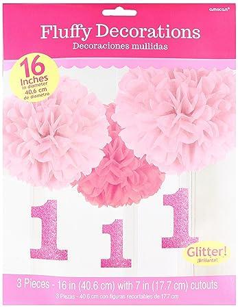 Amscan Ersten Geburtstag Rosa Flauschige Dekoration Amazon De