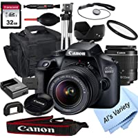 Deals on Canon EOS 4000D DSLR Camera w/18-55mm f/3.5-5.6 Lens Bundle