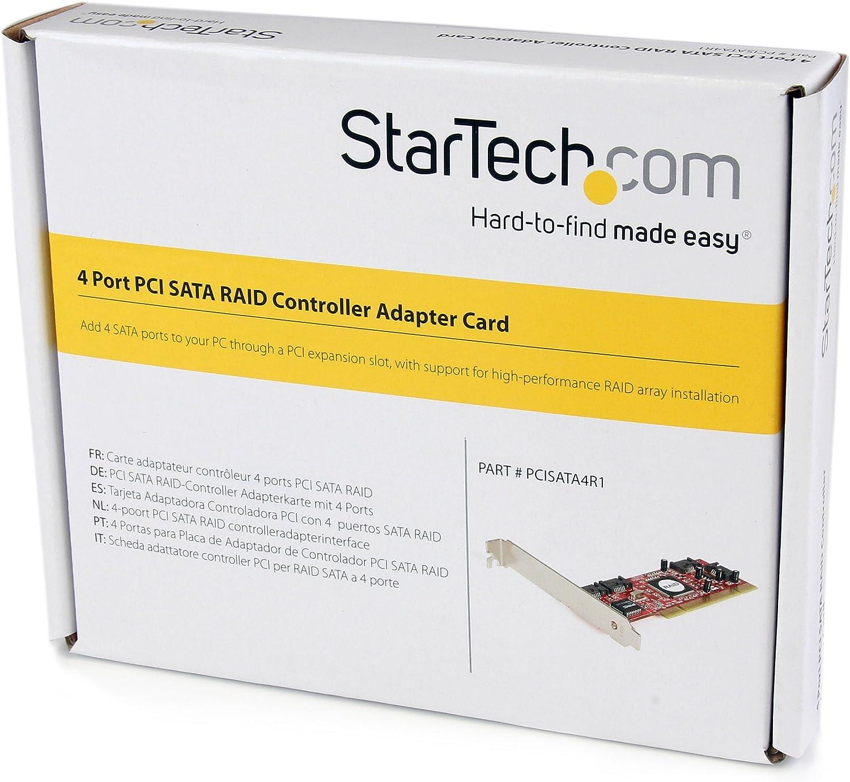 StarTech.com 4 Port PCI SATA RAID Controller Adapter Card PCISATA4R1