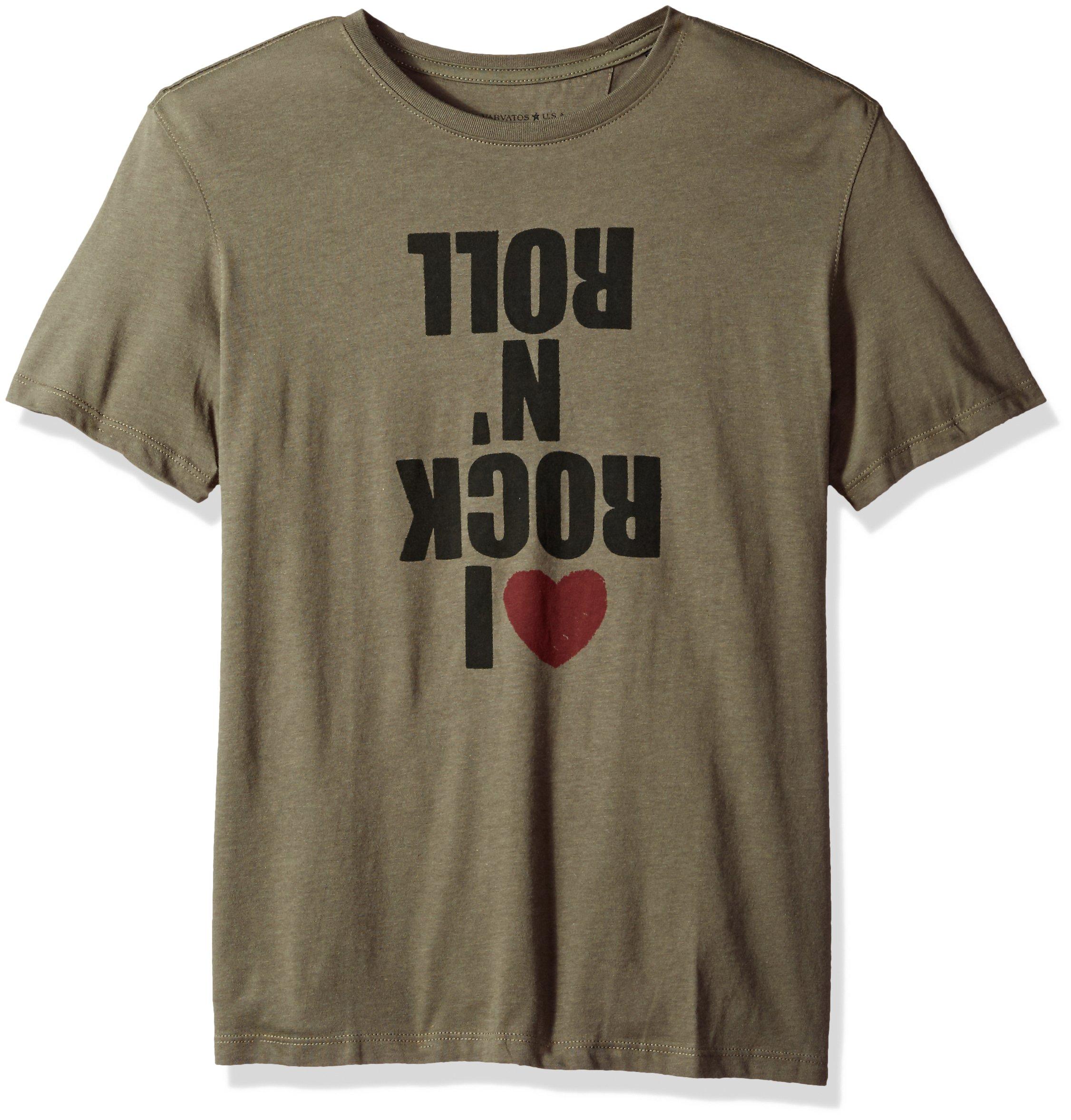 John Varvatos Men's I Love Rock N Roll Graphic Tee, Tent Green, Large