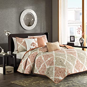 Madison Park Claire 6 Piece Quilted Coverlet Set, Full/Queen Spice