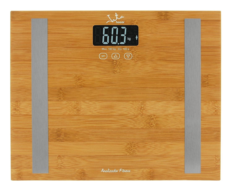 Jata Hogar 577–Körperfett Analysator und Waage mit LCD Sucher und Oberfläche von Bambu 577/_Bamboo