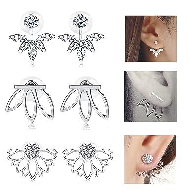 ead69f3df35c Milacolato 3 Pairs Lotus Flower Earrings Jackets For Women Girls Simple  Chic Ear Stud Earrings  Amazon.co.uk  Jewellery
