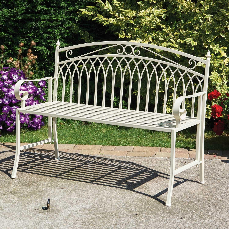 Tremendous Garden Bench Folding Metal Garden Bench In Cream Finish Theyellowbook Wood Chair Design Ideas Theyellowbookinfo