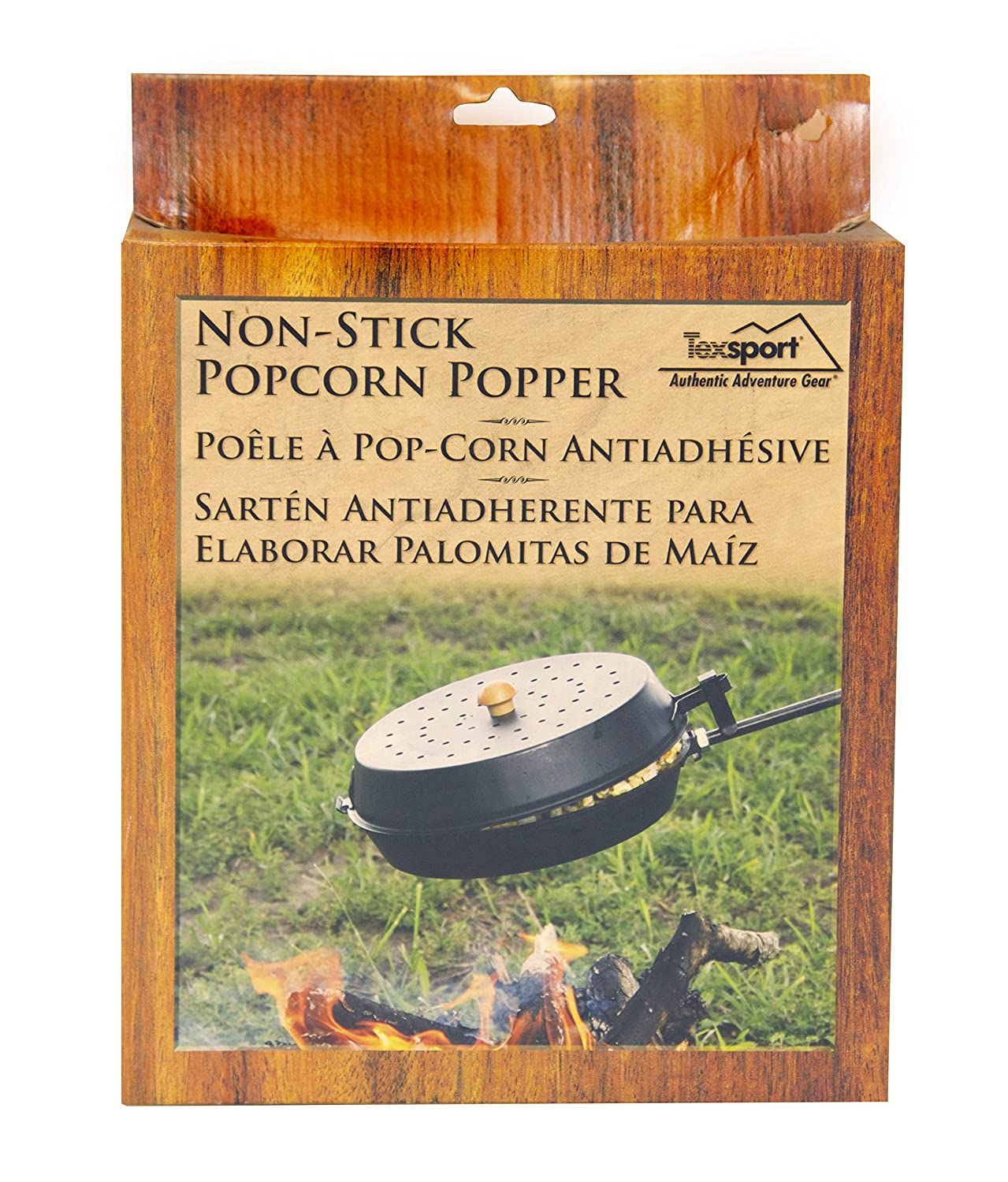 Amazon.com : Texsport Non-Stick Popcorn Popper for Campfire Fire pit Cooking : Campfire Cookware : Sports & Outdoors