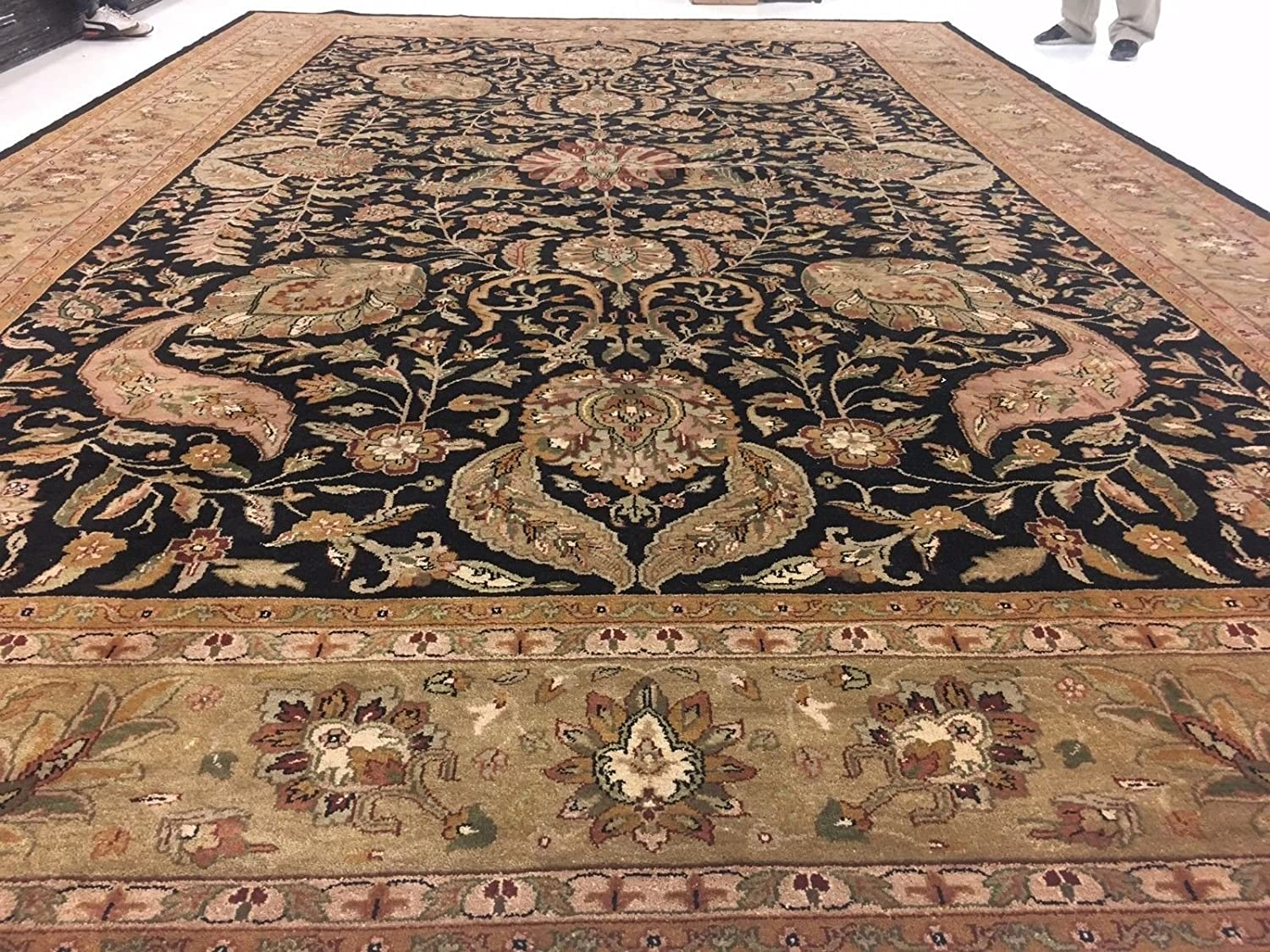 Amazon Com Rectangle Area Rug Olive Green Black Oriental Hand Knotted Wool Carpet 12 X 18 Kitchen Dining