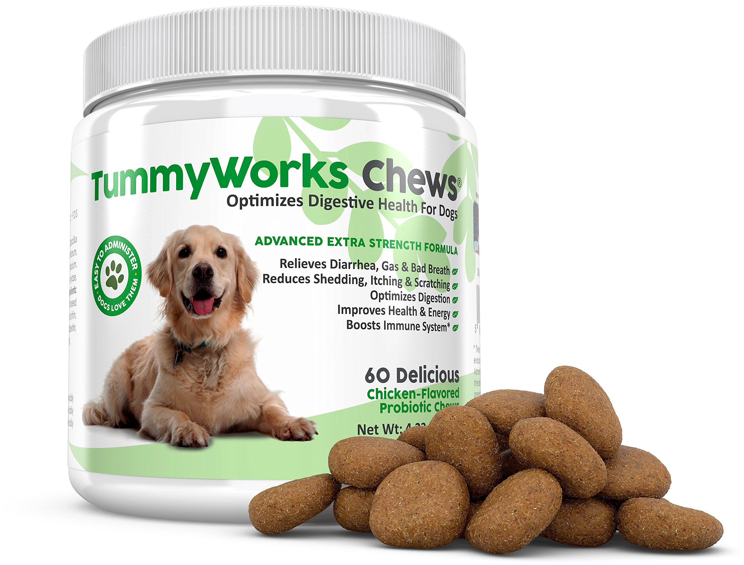 TummyWorks Probiotic Chews for Dogs. Best Soft Chews Supplement To Relieve Diarrhea, Yeast Infections, Itching, Skin Allergies & Bad Breath. Boosts Immunity. Added Digestive Enzymes. Made in USA (60)