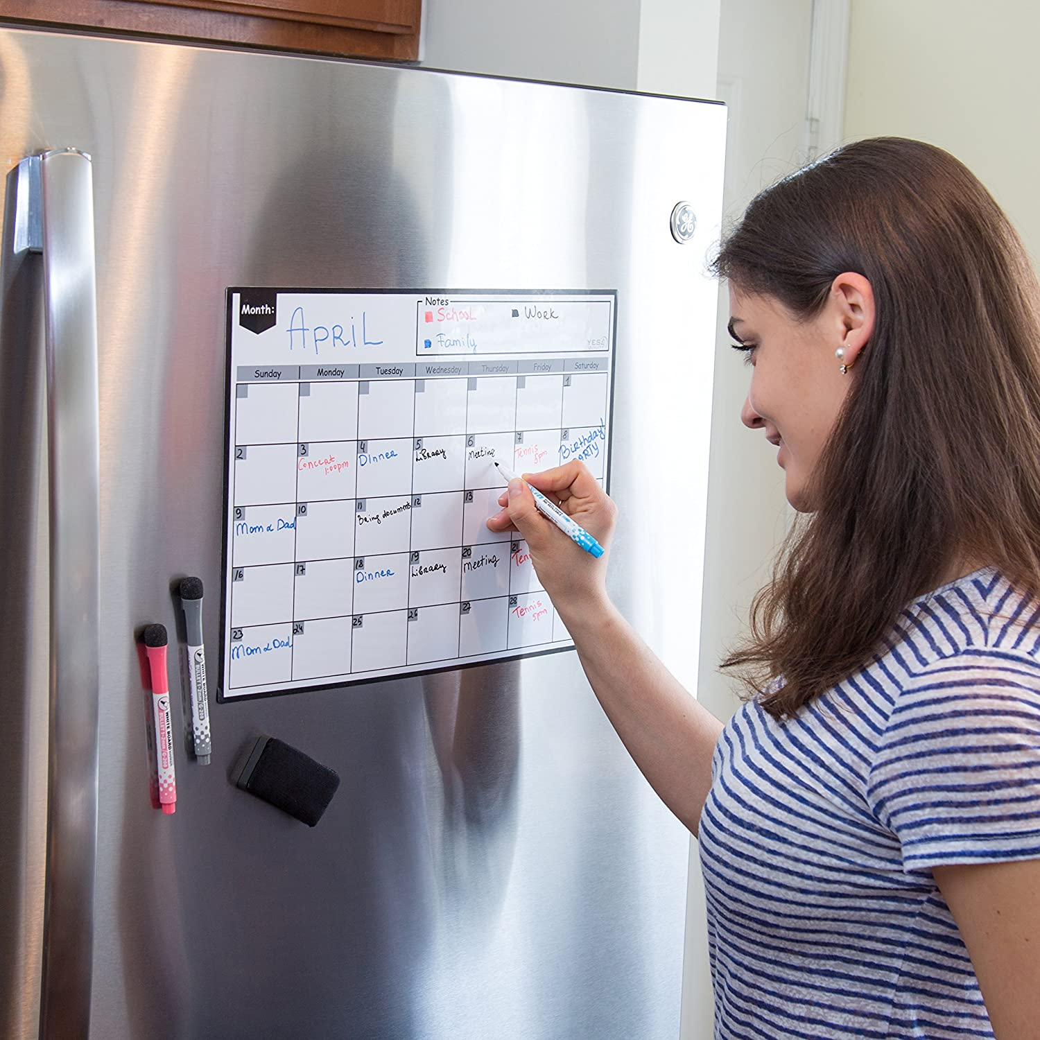 Magnetic Dry Erase Calendar for Fridge with Stain Resistant Technology - 16x12"