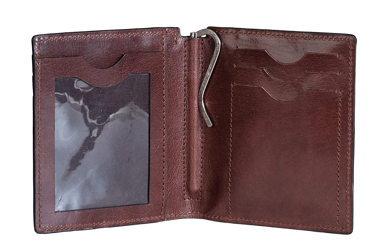 by Ladderback ID Case Black /& Tan 4 X 3.5 X 0.7 RFID Blocking 4 X 3.5 X 0.7 Full Grain Calf Leather Money Clip Wallet Russell
