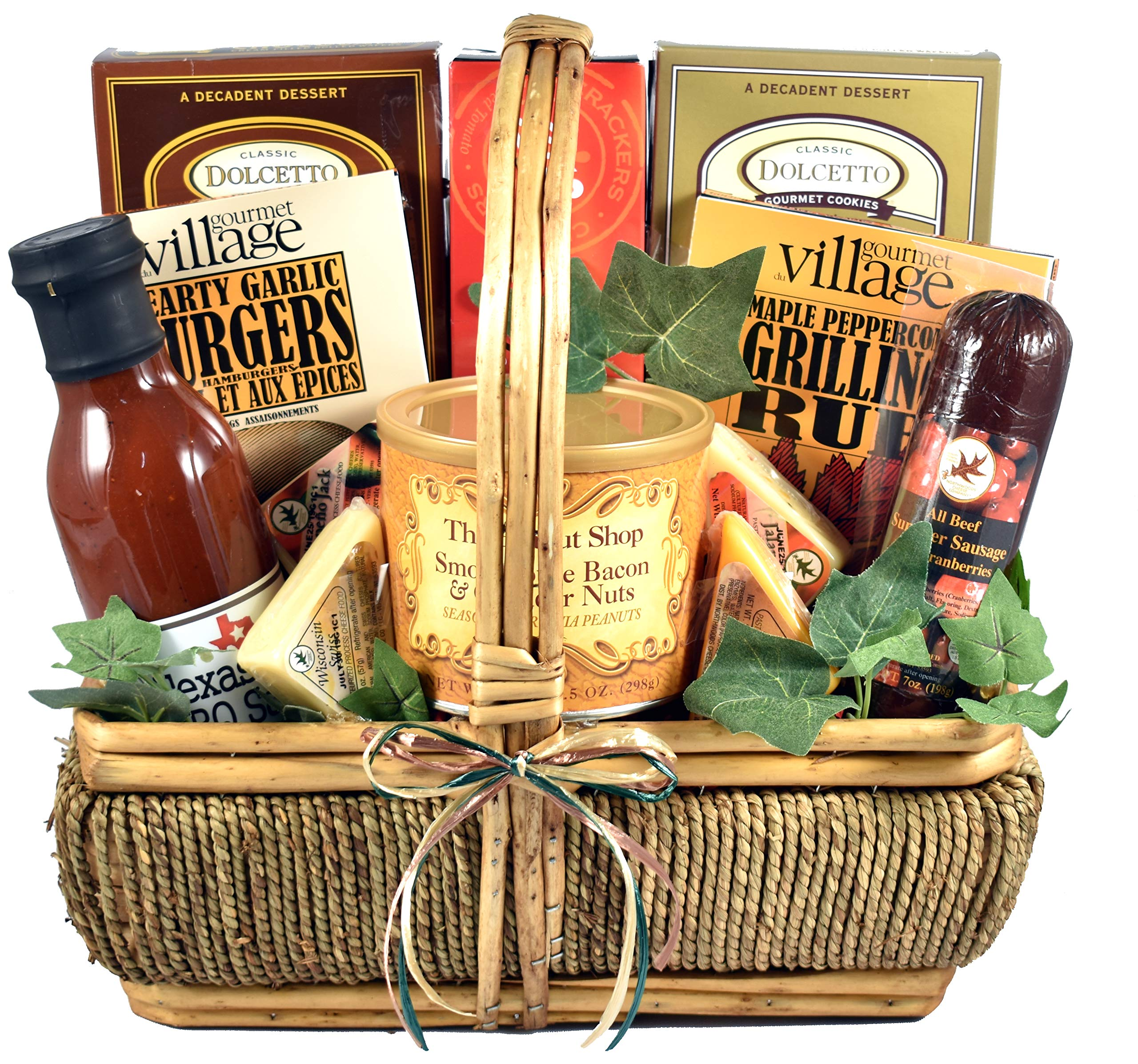 The Grill Master, Deluxe - A Grilling Gift Basket For Men With BBQ Sauce, Rubs, Recipes, Nuts & More, 7 lb