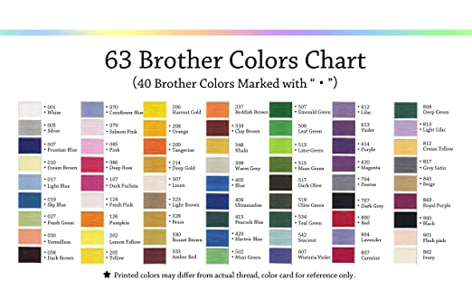 Simthread 63 Brother Colors Polyester 120d2 40 Weight Embroidery