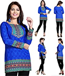 Unifiedclothes Women Fashion Printed Short Indian Kurti Tunic Kurta Top Shirt Dress 126D
