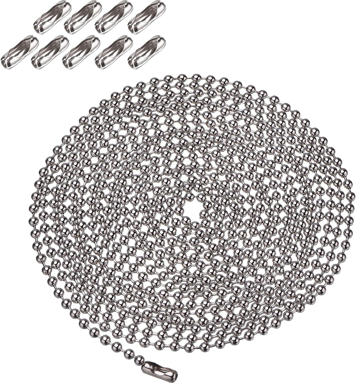 Shappy Extensión de Cadena de Tirar de Abalorio de Diámetro de 3,2 mm con Conector, 10 Pies de Cadena de Cuentas con 10 Conectores Correspondientes (Plateado)