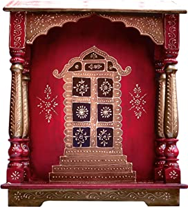 Wood Temple , Puja Mandir, Temple for Home, Pooja Mandir, Pooja Mandir for home with swastika, made with Wood and with Decorative art golden work, Must for every Pooja Room, A Auscipious Hindu Temple