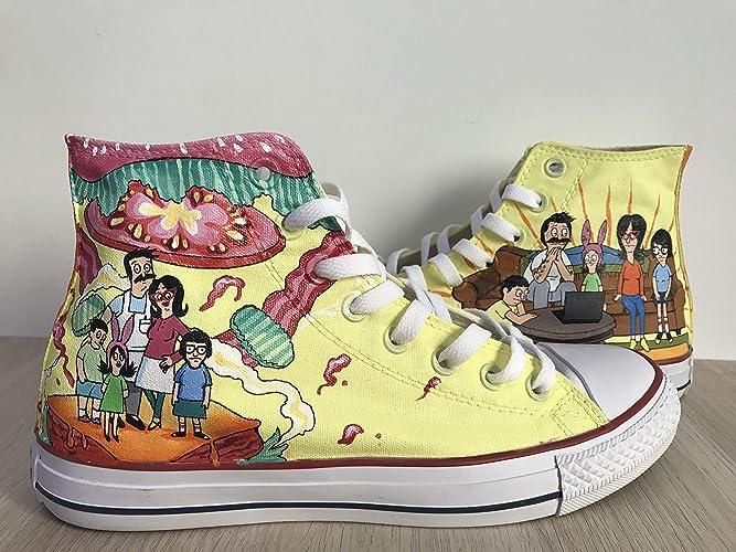 32d9609ad Amazon.com: Bob's Burgers Chuck Taylors Sneakers Hi Tops Customised ...