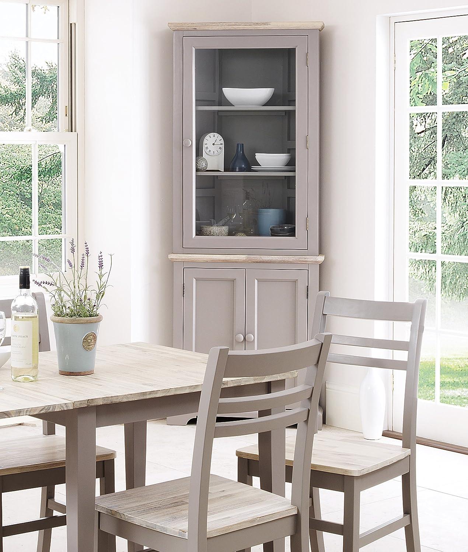 Florence Corner Display Cabinet, Dresser Dove Grey