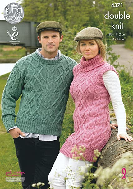King Cole Ladies & Mens Double Knitting Pattern Cable Knit Sweater ...