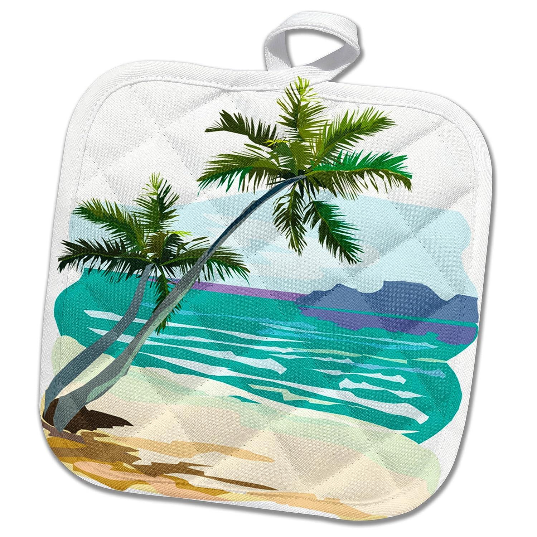 PHL/_285734/_1 Tropics Scene Palm Tree Water Summer Beach Theme 8x8 Potholder 3dRose TDSwhite