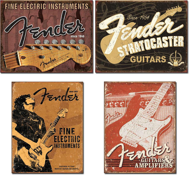 Fender Guitar Shop Sign Electric Metal Vintage Style Pick Guard String Large