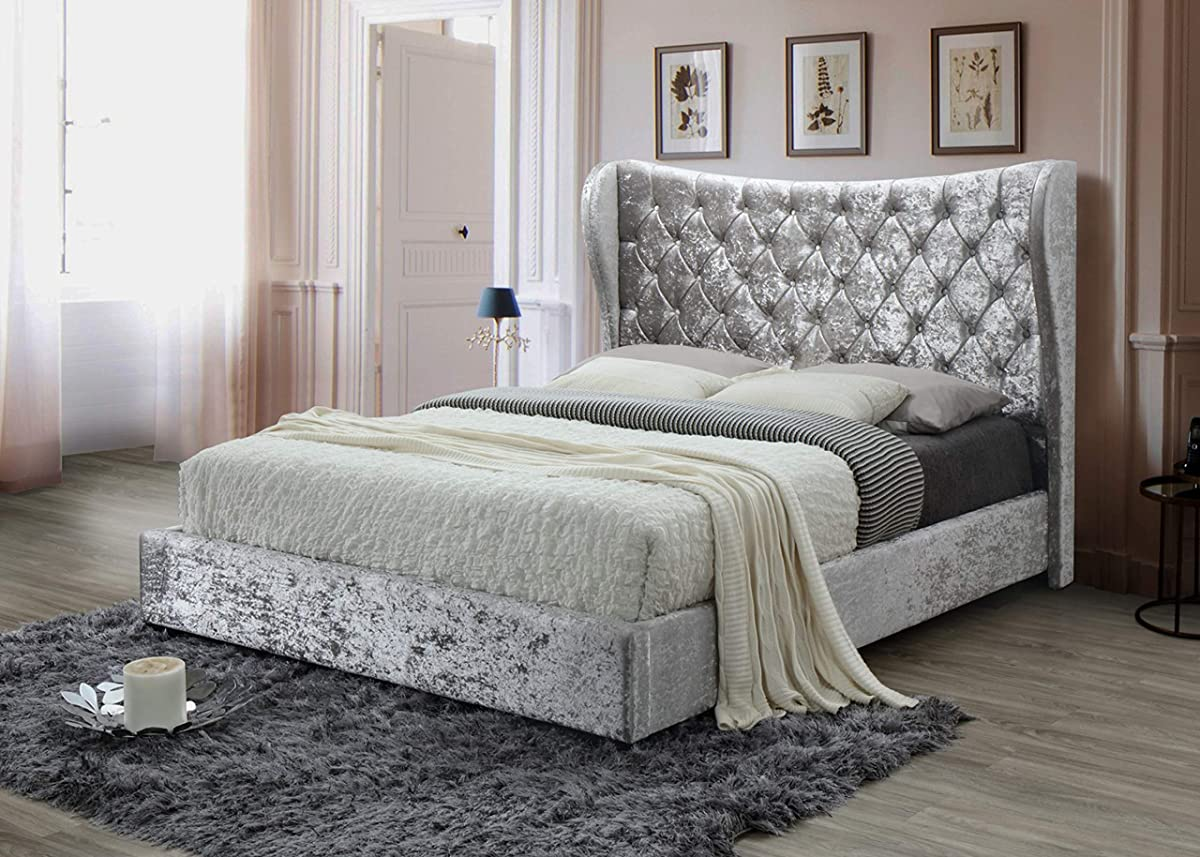 Oakland Living AZ2950-QUEEN-ROYAL-SILVER Silver Tufted Modern Crushed Velvet Queen Platform 67-in Tall Headboard No Box Spring Required Upholstered Bed, Royal
