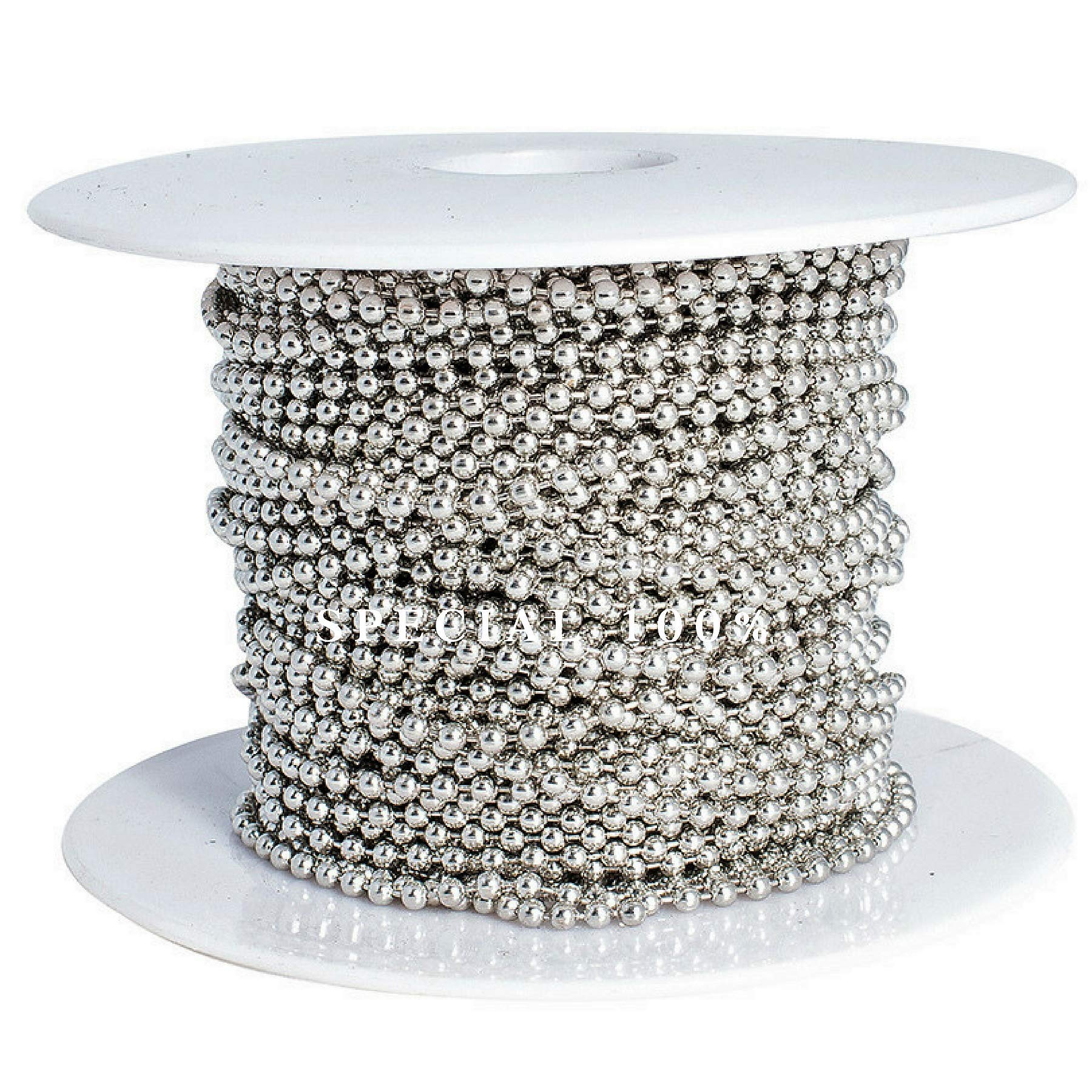 Ball Chain Spool #3 Nickel Plated Steel Bead Chain 2.4 Diameter 100 Feet (33 Yards) Included 30 Pc Matching connectors by Special100%