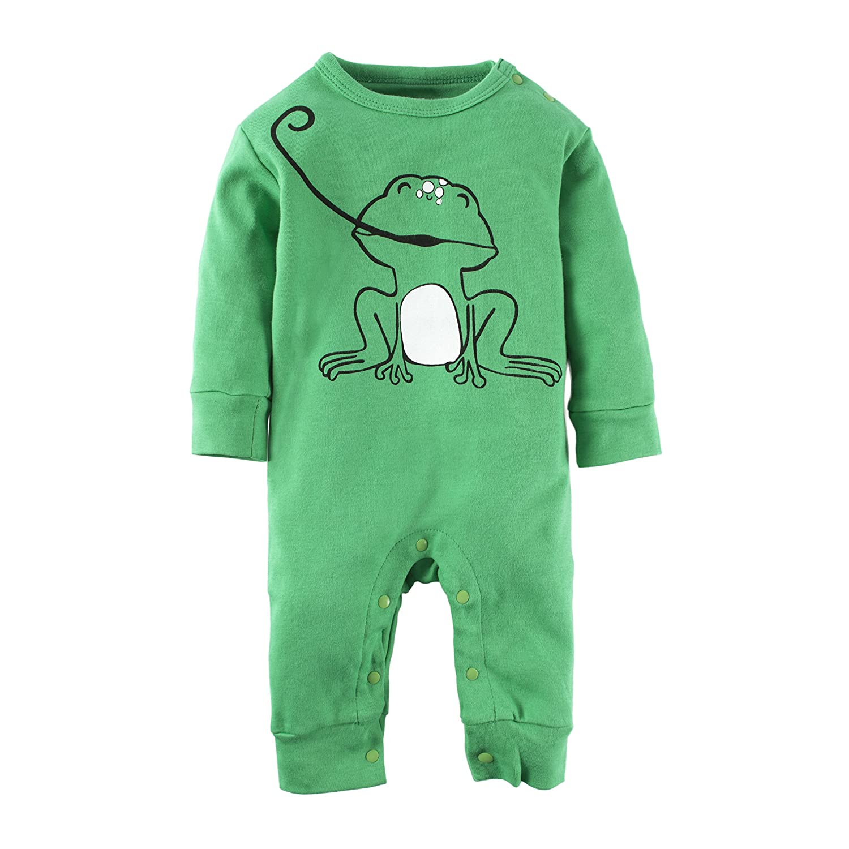 Big Elephant Baby Boys'1 Piece Cute Graphic Long Sleeve Romper Jumpsuit