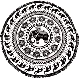 Enchanted Elephant Towel! Elephant Mandala Microfiber Large Round Beach Towel with tassels - Ultra soft, water absorbent, Multi-Purpose 60 inch diameter
