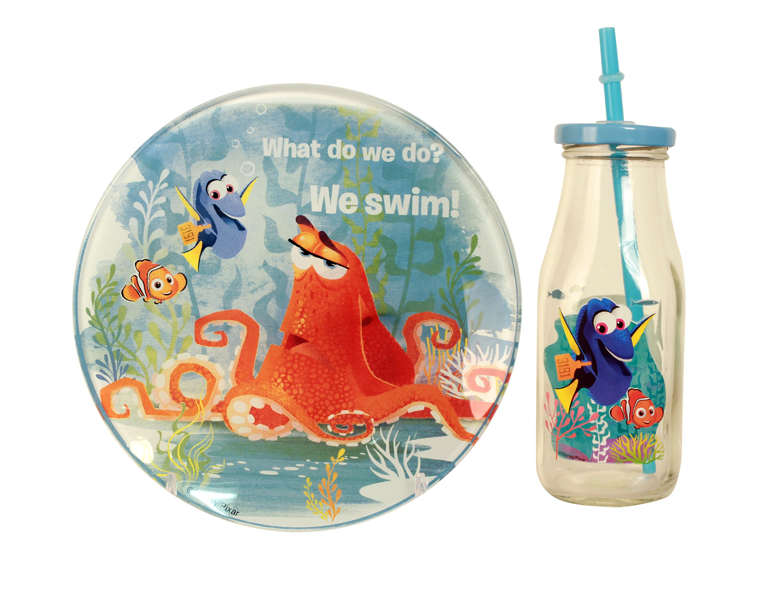 Disney 3 Piece Finding Dory Bottle and Plate Snack Set, Multicolor