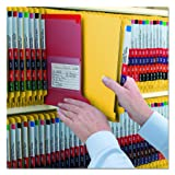 "Smead End Tab Pressboard Classification File Folder with SafeSHIELD Fasteners, 2 Dividers, 2"" Expansion, Legal, Yellow, 10 per Box"