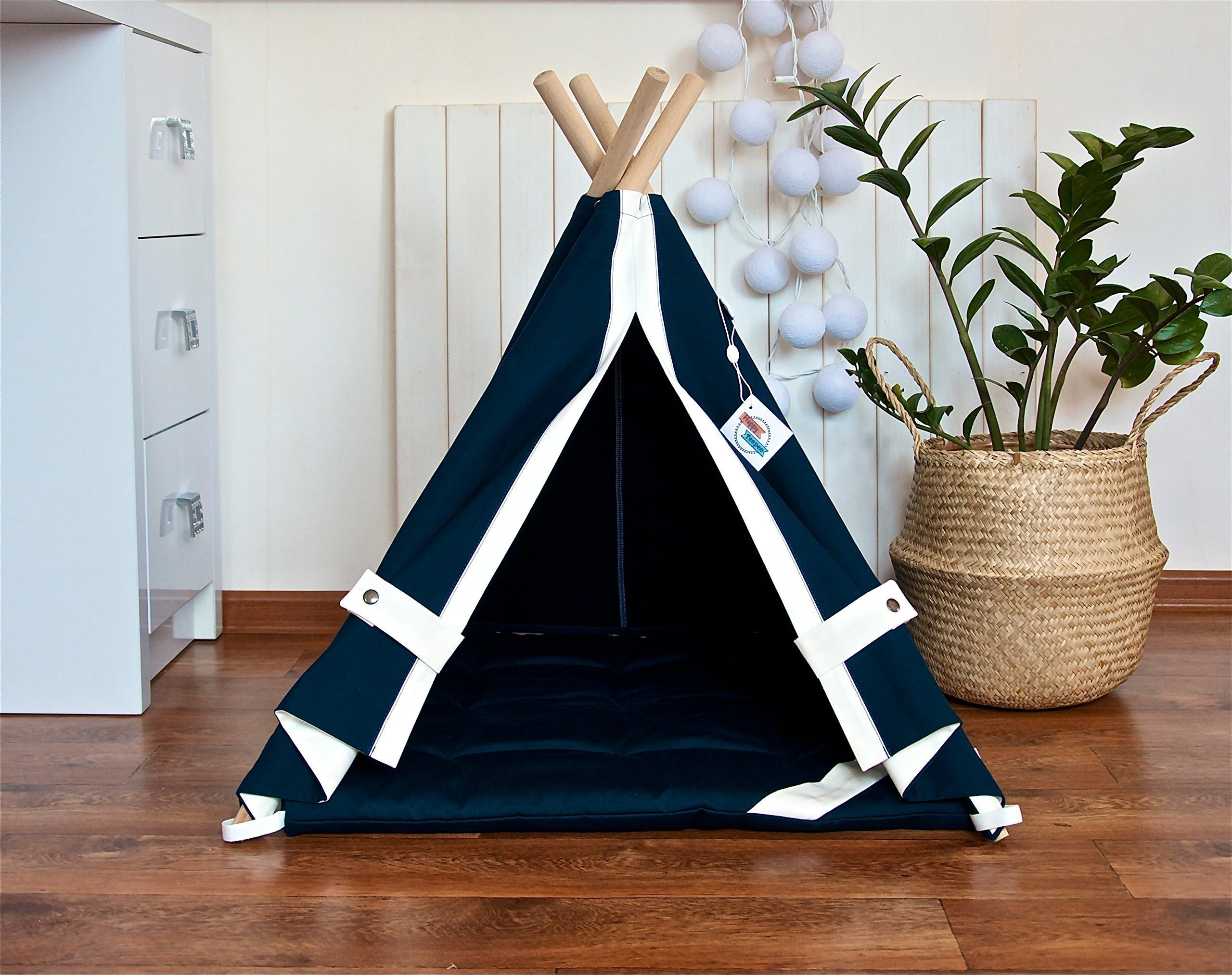 Happy Teepee dog teepee tent with cushion, dog teepee, dog bed, pet teepee tent, cat teepee, cat bed, cat teepee tent