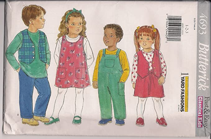 A 1//2-1-2-3-4 Simplicity Patterns US8660A Toddlers