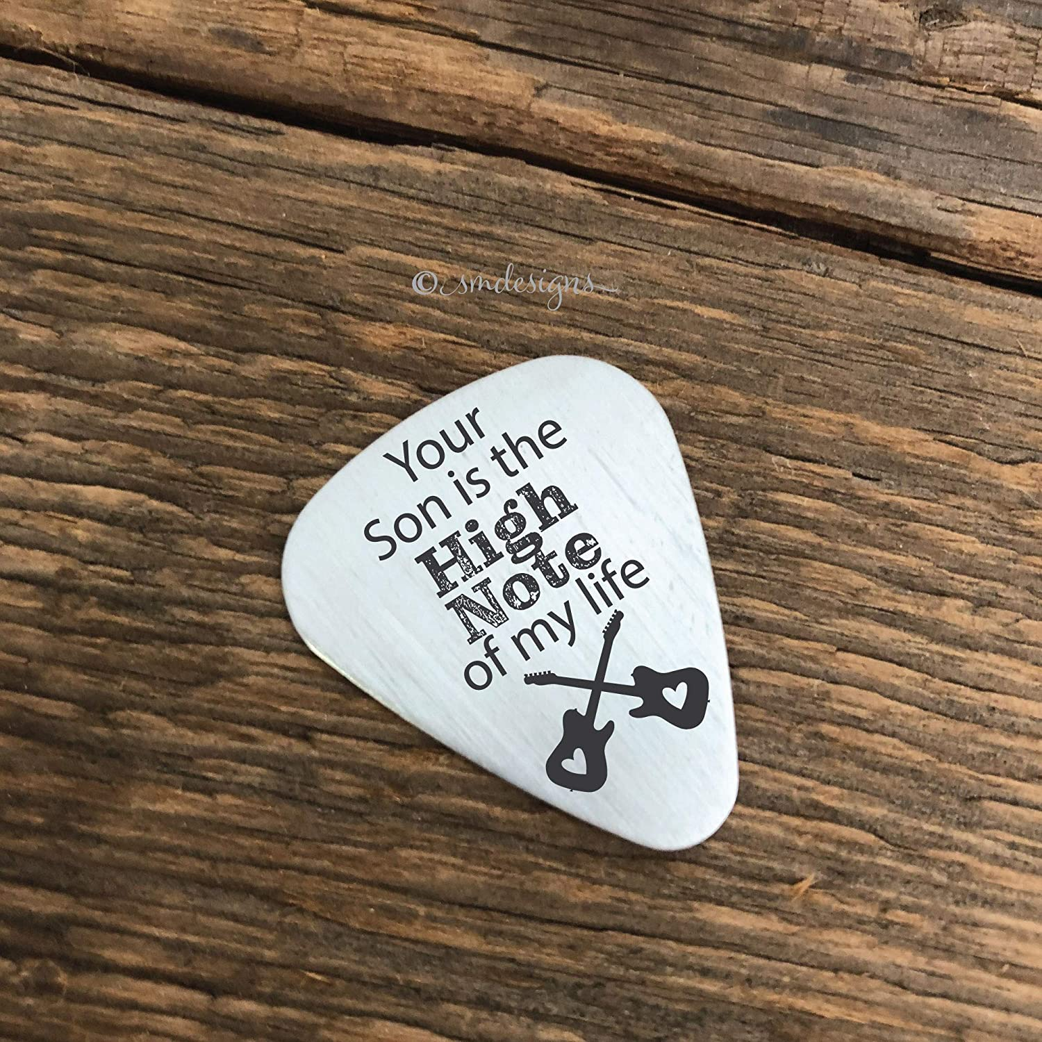 Amazon Com Your Son Is The High Note Of My Life Guitar Pick Gift Idea Engraved Guitar Pick Gift For In Laws Birthday Gift Christmas Gift Engagement Present Handmade