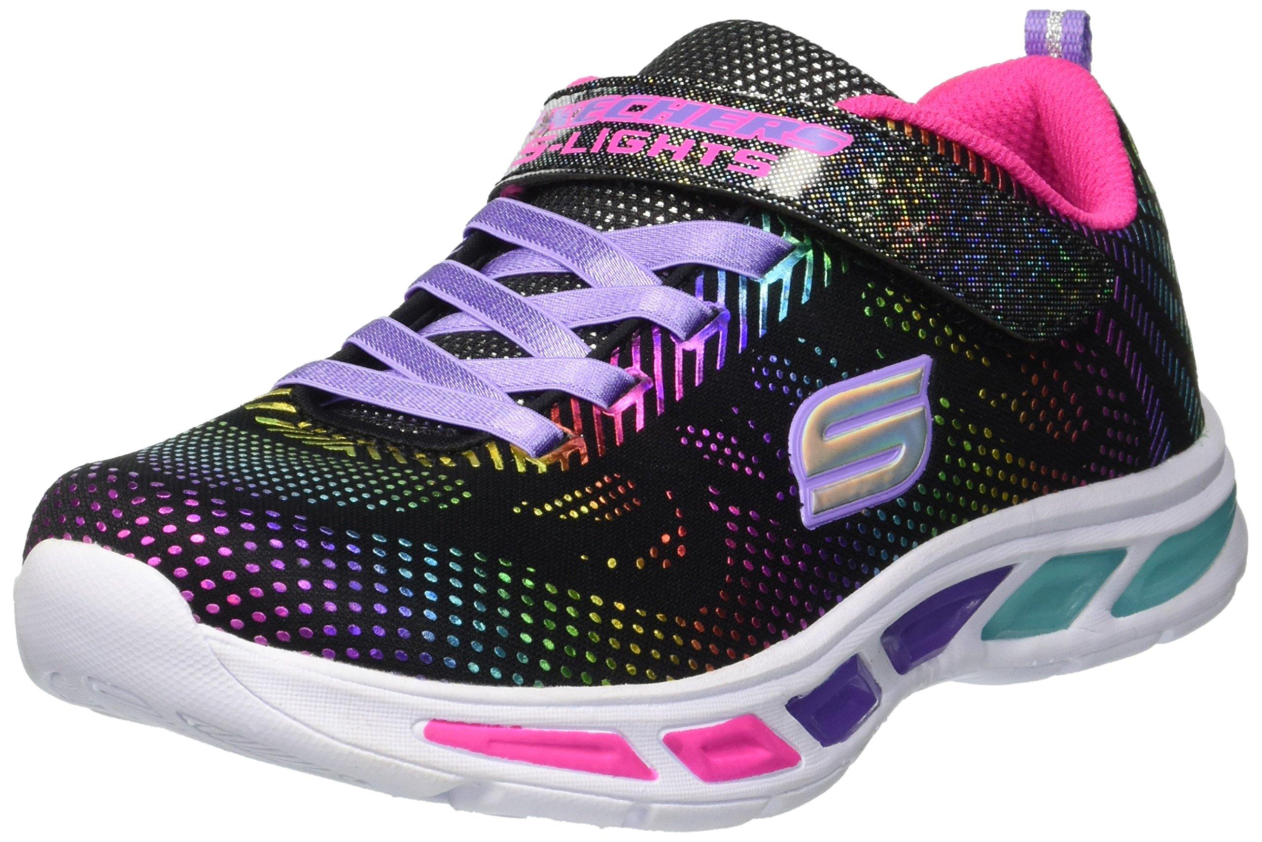 Skechers Kids Girls' Litebeams-Gleam N'DREAM Sneaker, Black/Multi, 6 Medium US Toddler