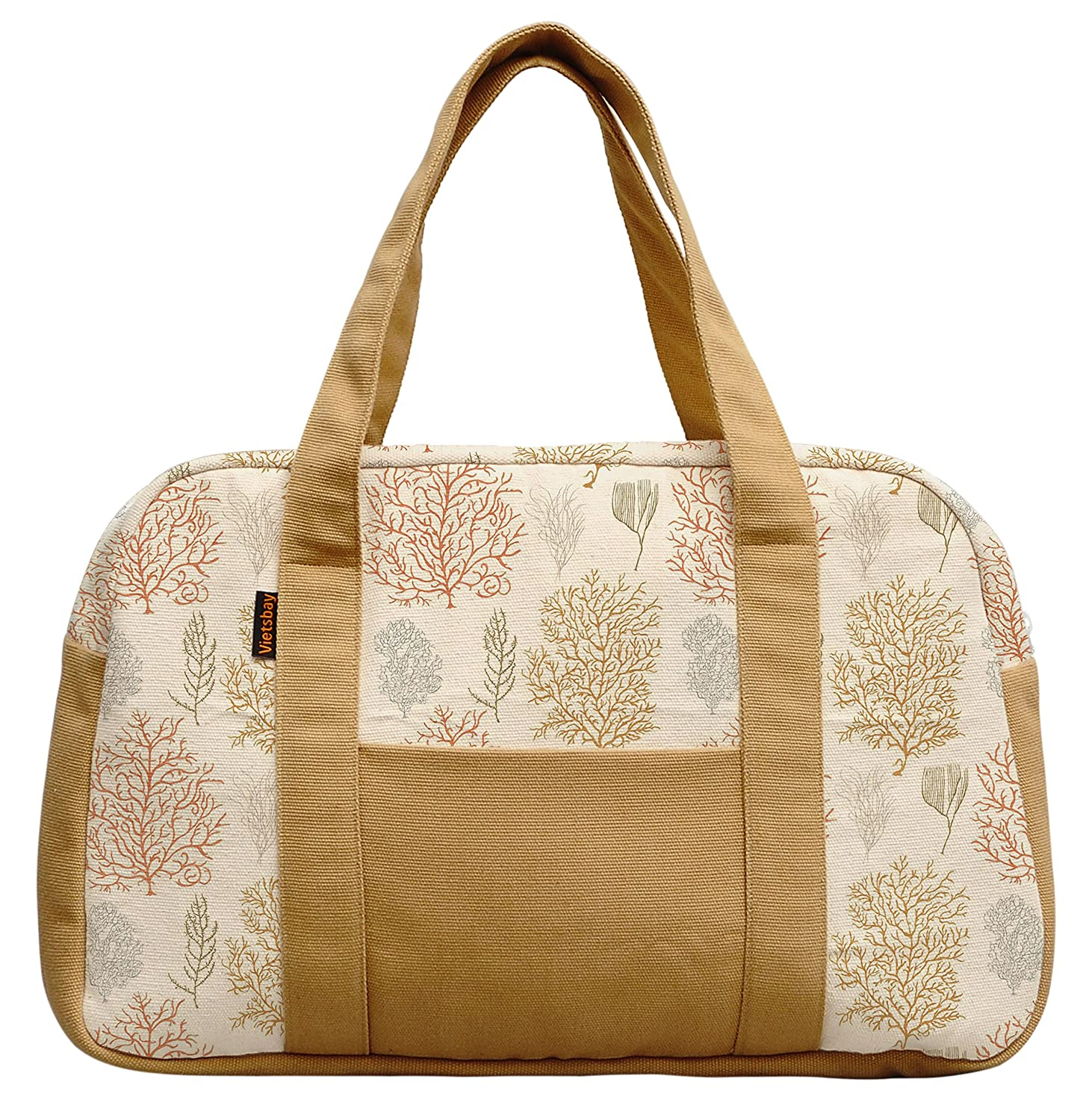Womens Autumn Leaf Style Printed Canvas Duffel Travel Bags WAS/_19