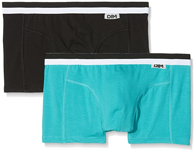 Unno DIM Basic Boxer Coton Stretch X2 Bas, Hombre, (Negro/Azul Claro