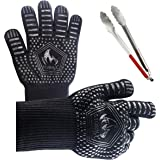 StormX BBQ Gloves with 14 Inch TONG Extreme Heat Resistant Oven Gloves-EN407 Certified-Silicone Lining For Anti Slip and…