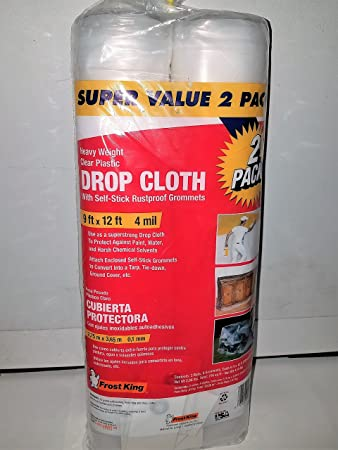 frost king p912g clear plastic drop cloth with grommets 9