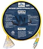 50 ft 10 Gauge Heavy Duty Indoor Outdoor SJTW Lighted Triple Outlet Extension Cord by Watts Wire - Yellow 50 foot 10 AWG Copper Lighted Multi Outlet Grounded 10/3 Extension Cord
