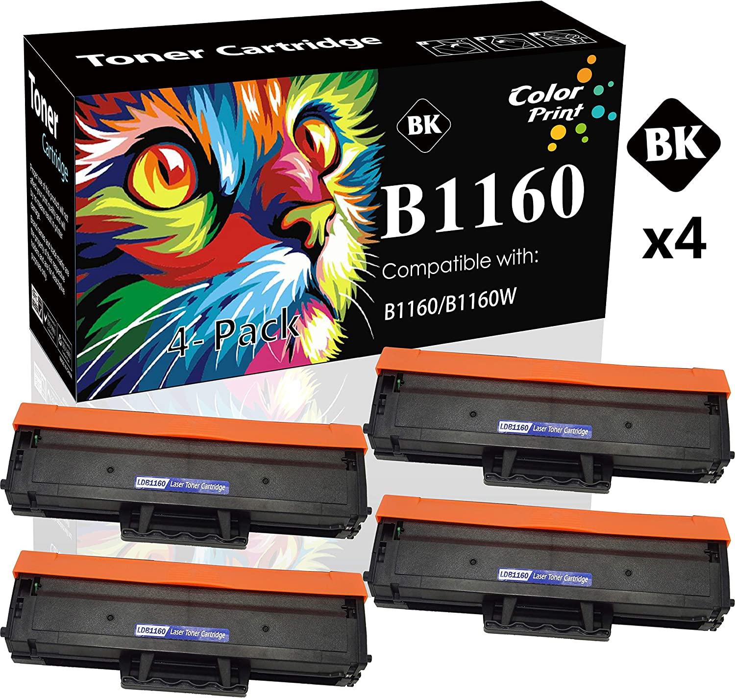 4-Pack ColorPrint Compatible Dell B1160w YK1PM 1160 331-7335 HF44N HF442 B1160 Toner Cartridge Used for Dell 1160 B1163w B1165nfw Mono Laser Printers (Black)