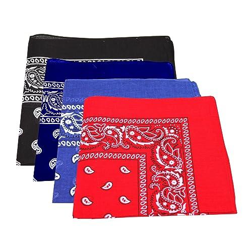 Pañuelo bandana de algodón, diseño de cachemira, pack de 4unidades, color azul marino, azul, negro y...