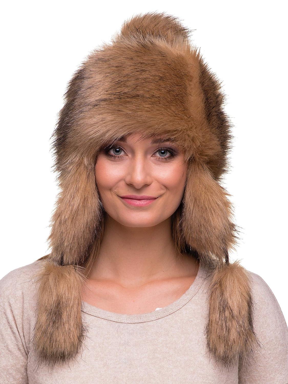 Futrzane Trapper Hat Faux Fox Fur Winter Women Russian Style